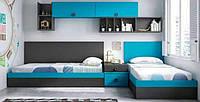 Детская комната для двоих с кроватями и тумбами  D-013
