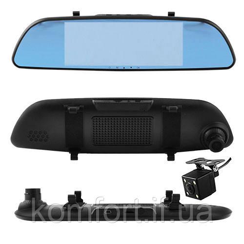 Автомобильный видеорегистратор зеркало 7'' с двумя камерами 701, Full HD 1080P