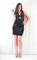 Платье стильное красивое  вечернее бархатное с атласной вставкой и бантом черное