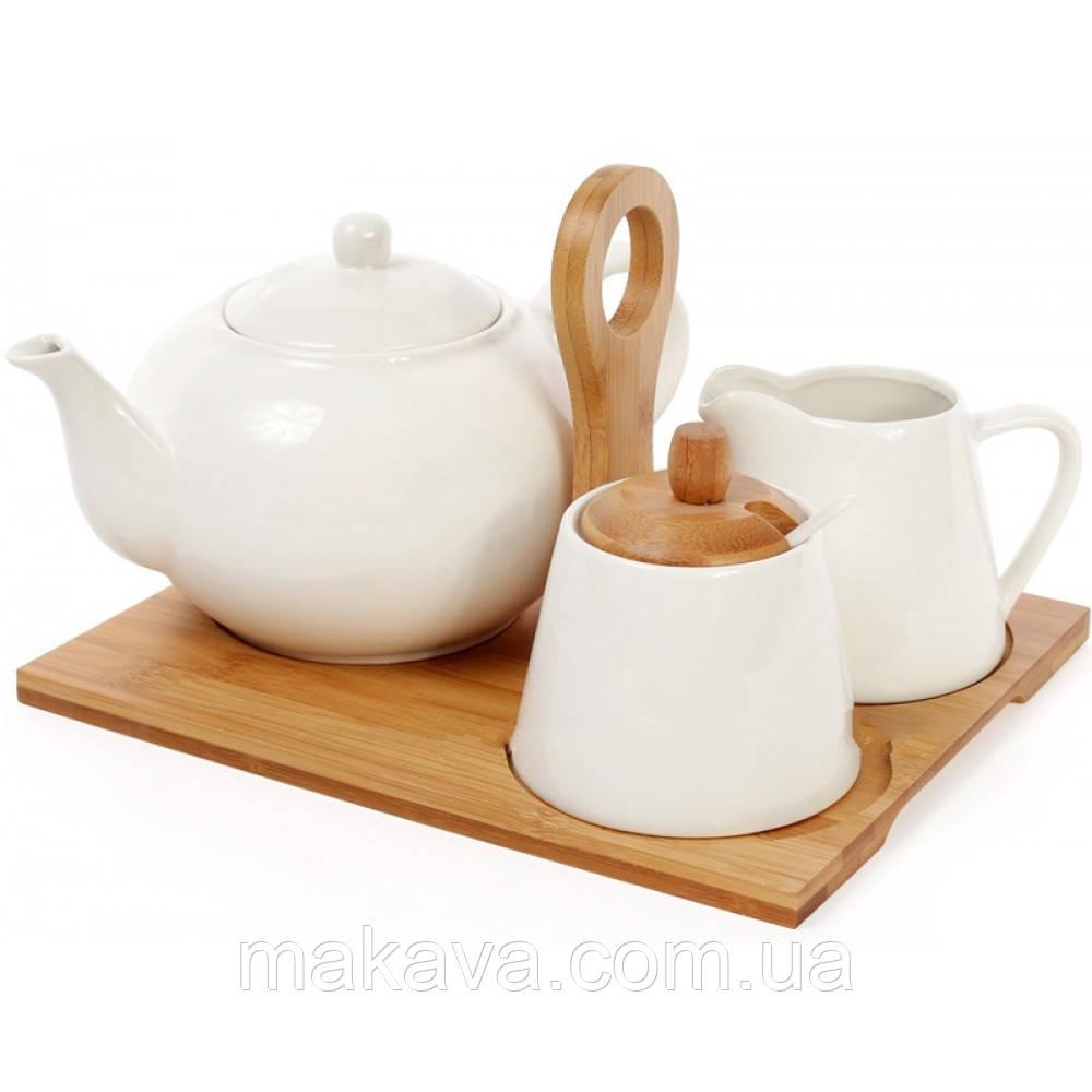 """Набор чайный """"Naturel""""  Чайник  +  Молочник + Сахарница +  Ложка + Бамбуковый Поднос"""