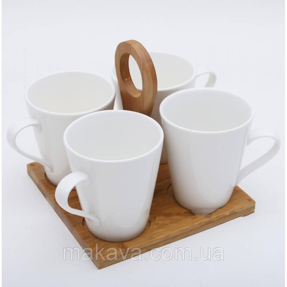"""Набор подарочный  """"Naturel"""" 4 Чашки на бамбуковой подставке"""