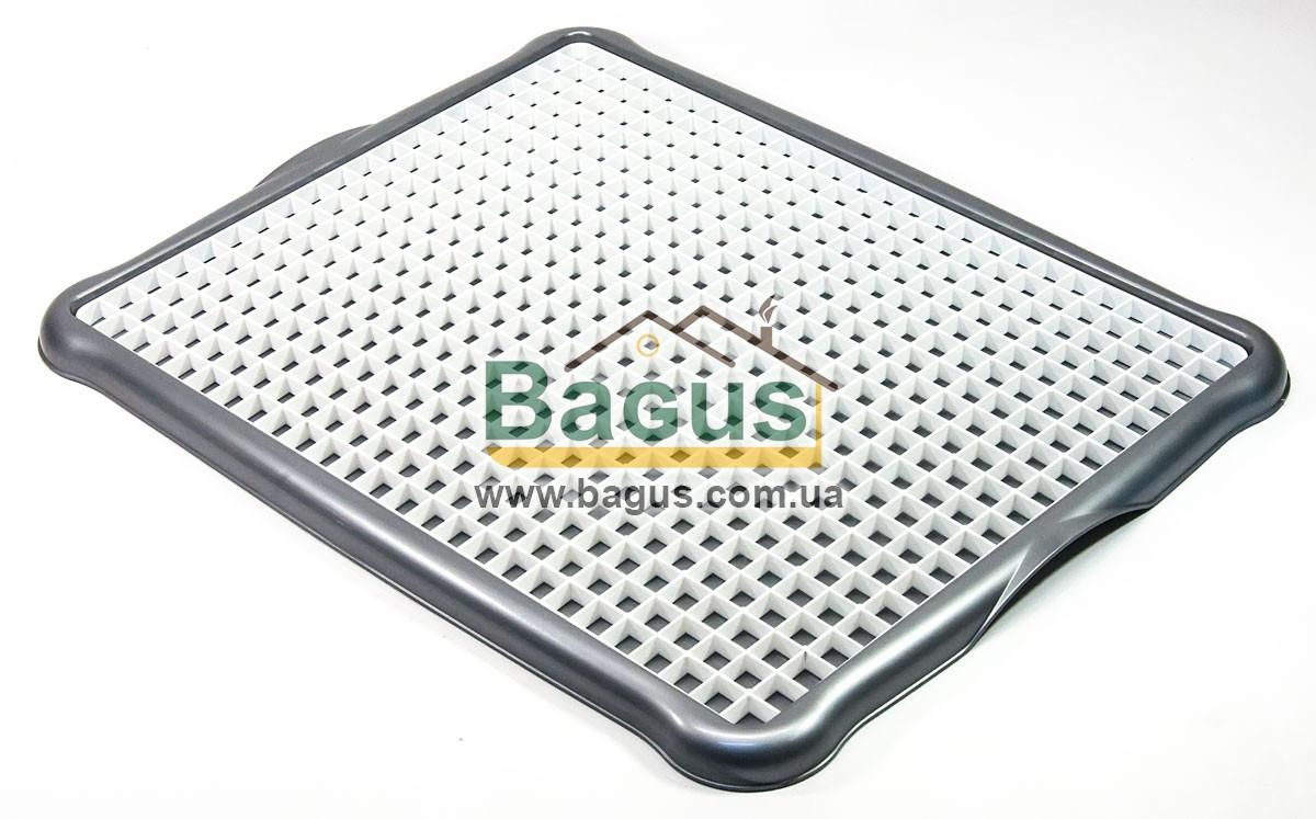 Сушилка-поднос для посуды и фруктов пластиковая 43,5х34х2см (цвет - серый) Hobby Life 1306-1