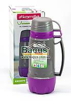 Термос 0,6л пластиковый со стеклянной колбой (серый+фиолет) (две чашки в крышке, одна - дно) Kamille KM-2079-3