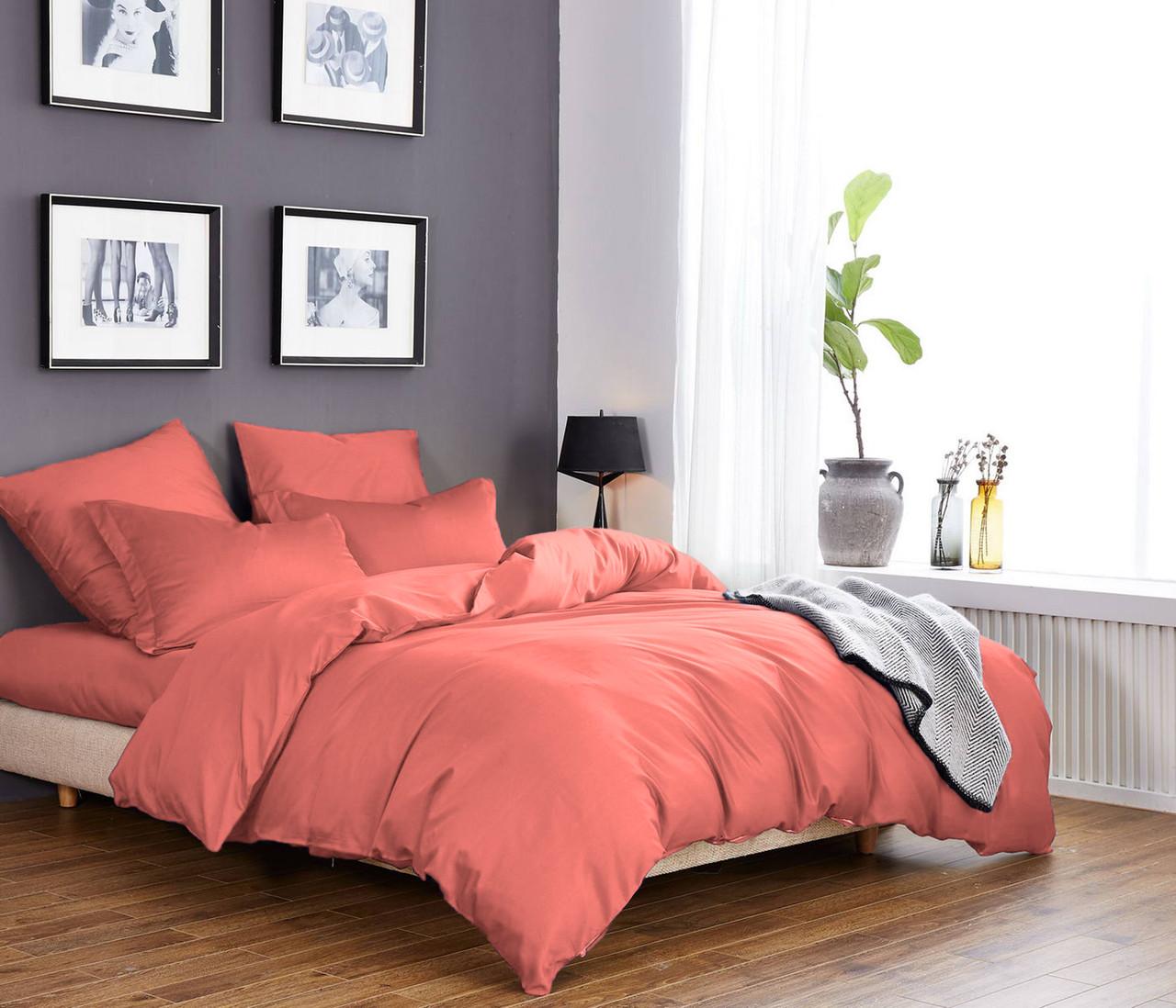 Комплект постельного белья из элитного сатина Лосось