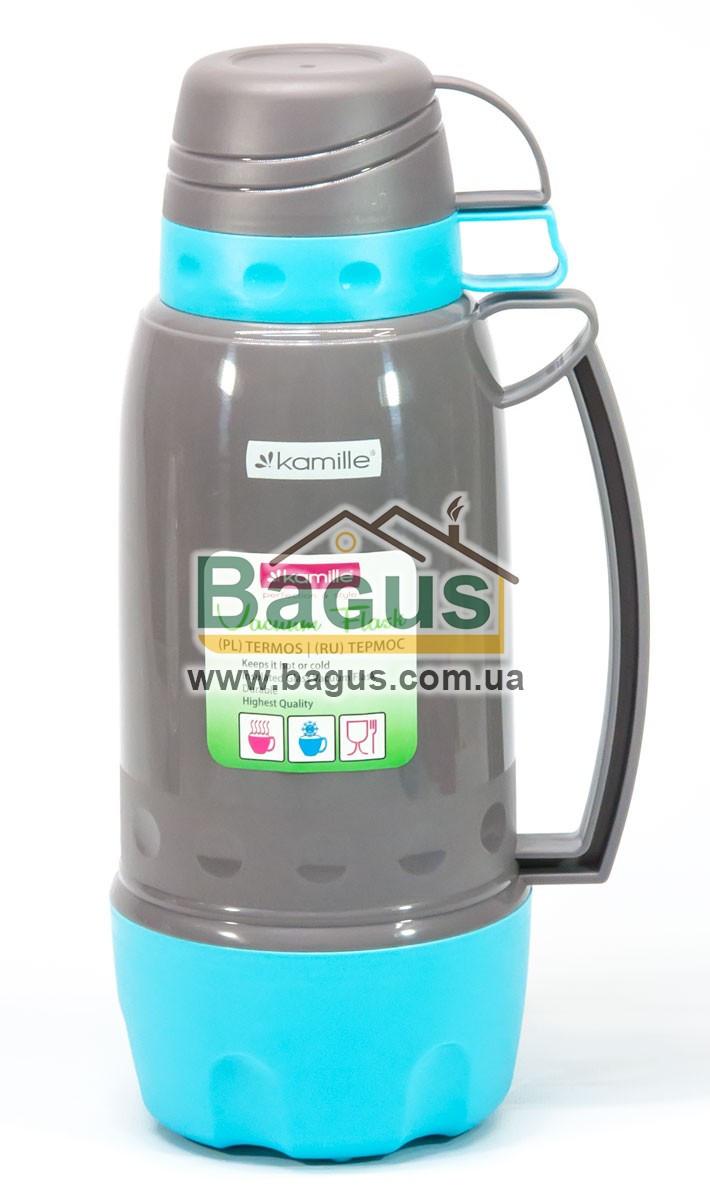 Термос 1,8л пластиковый со стеклянной колбой (серый+бирюза) (две чашки в крышке, одна - дно) Kamille KM-2081-1