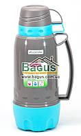 Термос 1,8л пластиковый со стеклянной колбой (серый+бирюза) (две чашки в крышке, одна - дно) Kamille KM-2081-1, фото 1