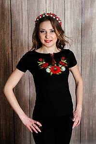Женская вышиванка в черном цвете с коротким рукавом с цветами «Мак и ромашка»