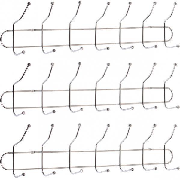 Вешалка настенная на 7 двойных крючков, 56×8×13 см          G01-7