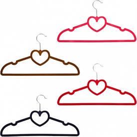 Вешалка «Сердце» с бархатным покрытием 41 см