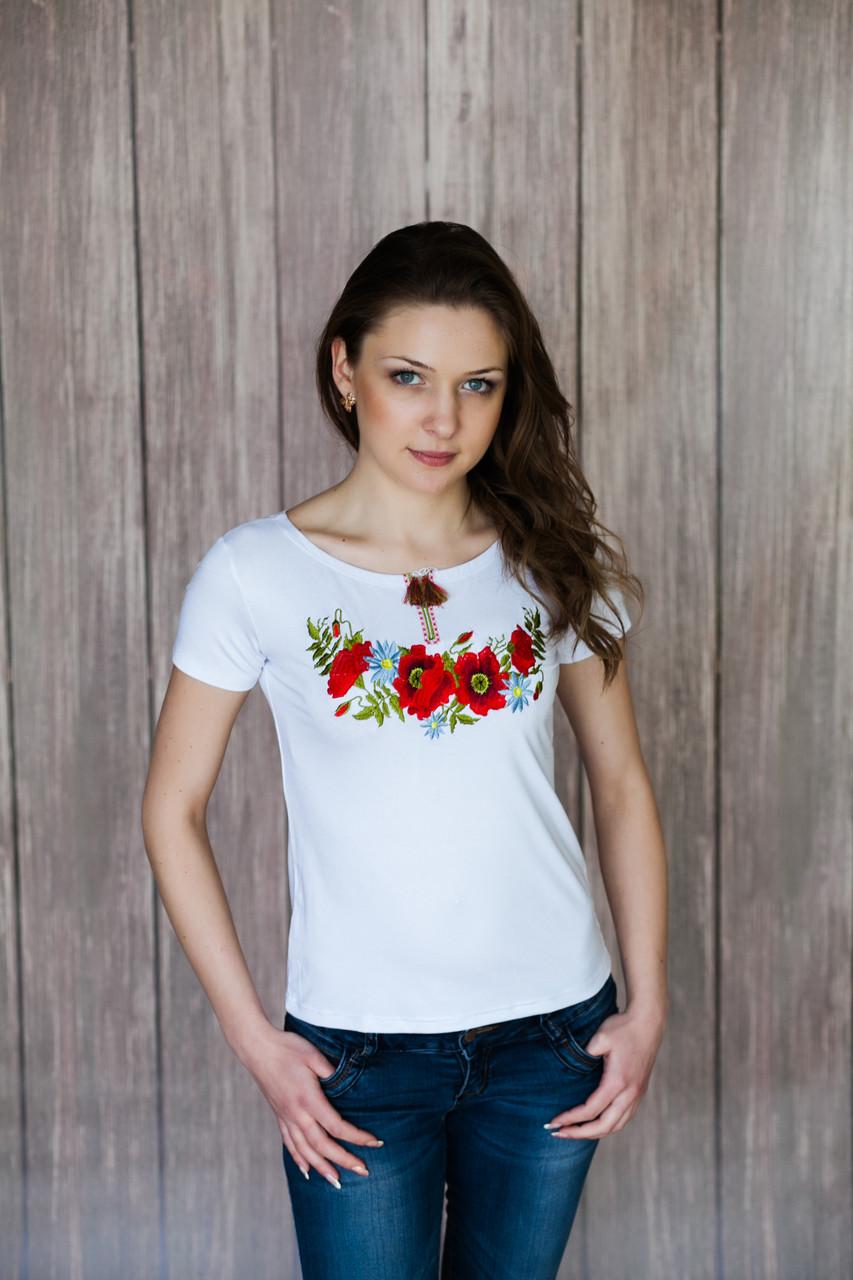 Стильная женская вышиванка белого цвета с коротким рукавом «Маковая красота»
