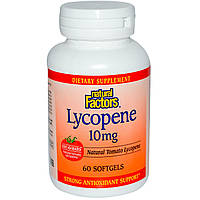 Ликопин (Lycopene), Natural Factors, 10 мг, 60 гелевых капсул