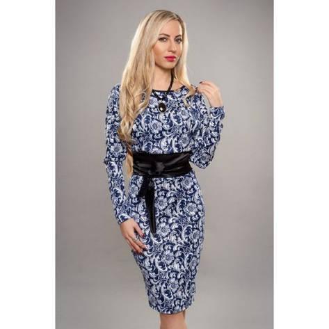 Платье с узором и широким атласным поясом , фото 2