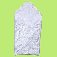 Конверт на выписку (трансформер), весенний, осенний, атласный, подкладка хлопок, на синтепоне, с рюшем, ТМ МС Белый