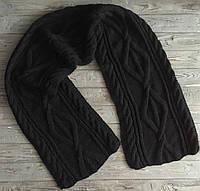 Мужской вязаный шарф, Черный вязаный шарф, Длинный вязаный шарф, Теплый подарок мужу, Модный зимний шарф, Шарф