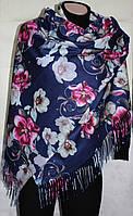 Палантин двухсторонний, кашемировый, синий в цветы, фото 1