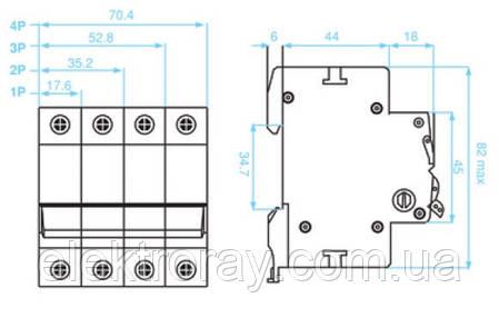 Автоматический выключатель 1P, хар.С, 25A, 4,5kA Viko, фото 2