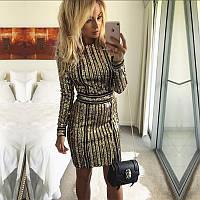 Женское вечернее нарядное платье расшитое пайетками с поясом золотое, фото 1