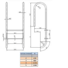 Лестница Kripsol Muro MI 3.D AISI-304 (3 ступ.), фото 2