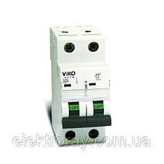 Автоматический выключатель 2P, хар.С, 6A, 4,5kA Viko
