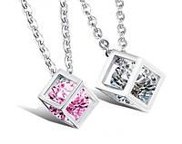 Парные кулоны для влюбленных Алмазный куб, фото 1