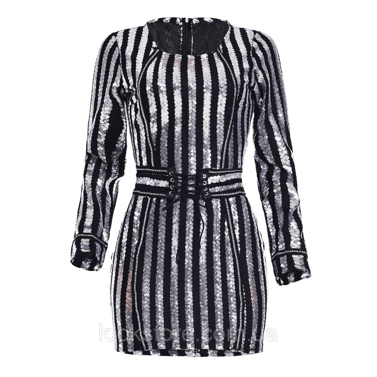 Женское вечернее нарядное платье расшитое пайетками с поясом серебряное S