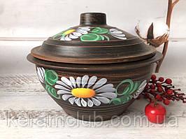 Супница рисованная из красной глины 2.5 литра