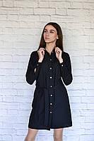 H002 Профессиональный халат-рубашка, черный