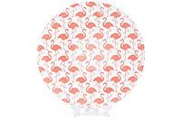 Тарелка фарфоровая 21.5см с тиснением Розовый фламинго 4 шт/упаковка