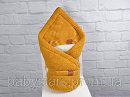 """Вязаный конверт-одеяло на выписку на махре """"Familia"""", цвет горчица"""