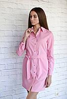 H002 Профессиональный халат-рубашка, розовый