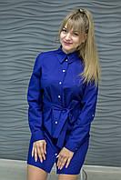 H002 Профессиональный халат-рубашка, темно-синий