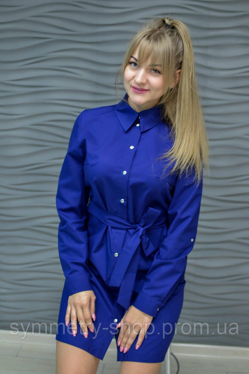 H002 Профессиональный халат-рубашка, темно-синий, фото 1