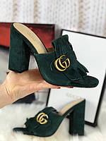 Замшевые мюли Gucci Marmont с бахромой и пряжкой (реплика), фото 1