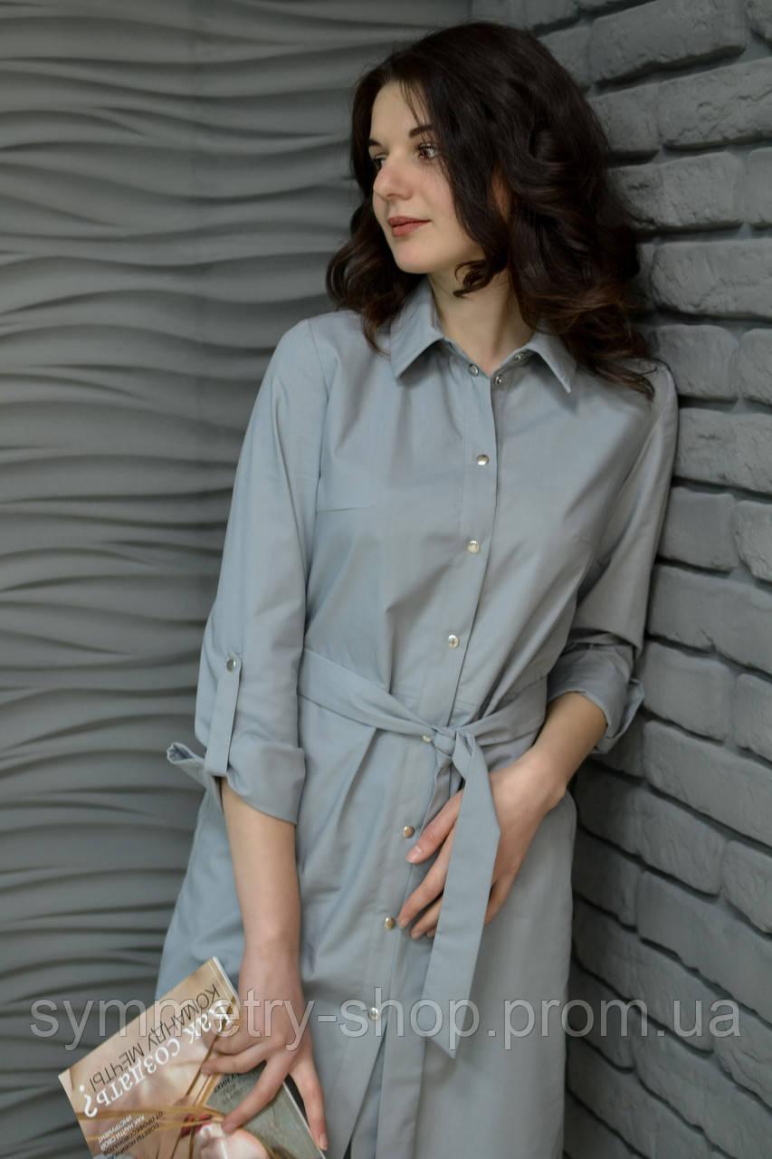 H002 Профессиональный халат-рубашка, серый