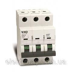 Автоматический выключатель 3P, хар.С, 10A, 4,5kA Viko