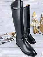 Кожаные сапоги VALENTINO на низком каблуке (реплика), фото 1