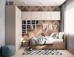 Детская комната с шкафом и антресолями на стене D-014