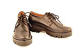 Туфлі жіночі низький хід тракторна підошва на шнурках шкіра KARMEN, фото 3