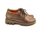Туфлі жіночі низький хід тракторна підошва на шнурках шкіра KARMEN, фото 4