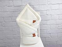 """Вязаный конверт-одеяло для новорожденных на махре """"Familia"""", цвет молоко, фото 1"""