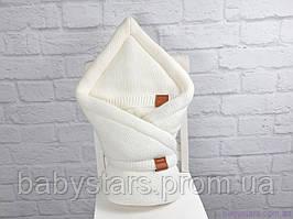"""Вязаный конверт-одеяло для новорожденных на махре """"Familia"""", цвет молоко"""