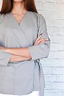 Блуза на запах Т005, серая, фото 1