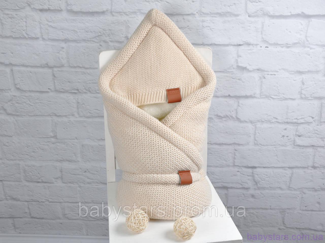 """Вязаный конверт-одеяло на махре """"Familia"""", цвет бежевый"""