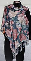 Палантин шарф двухсторонний, кашемировый, синий, в цветы