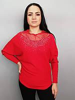 Трикотажная кофта женская с вставками из сетки на горловине и рукавах , украшенная стразами в черном и красном