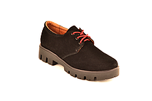 Подростковые туфли для девочек натуральная замша черный 333021 37