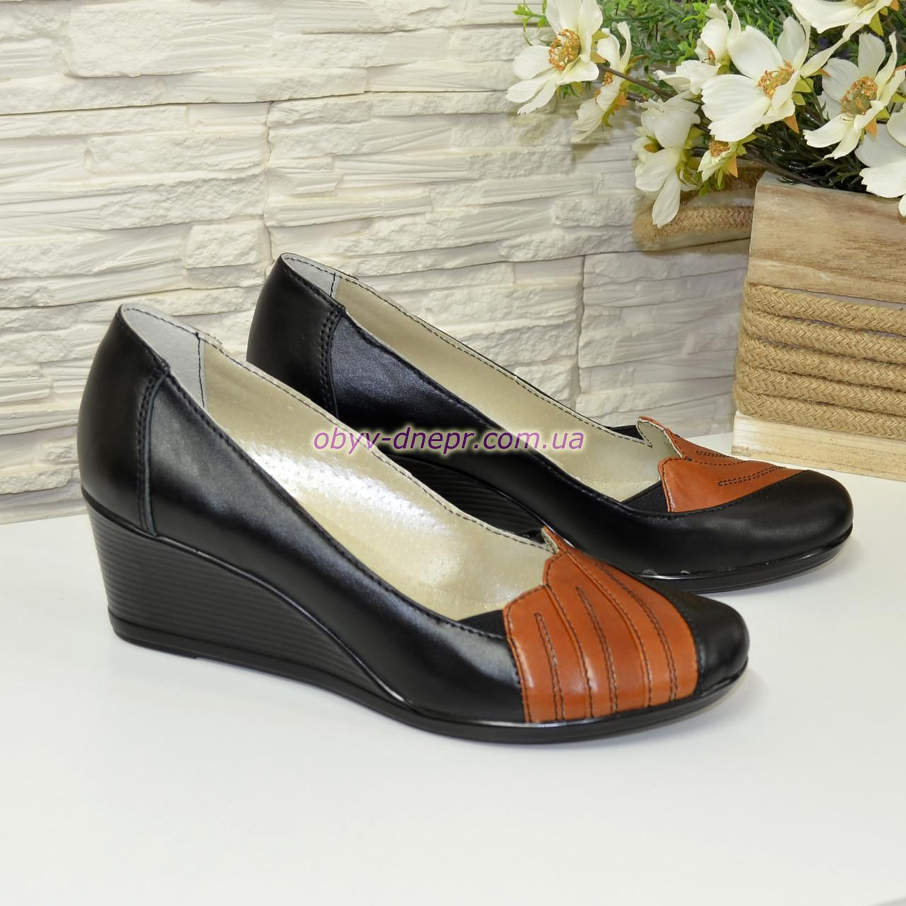 """Кожаные женские туфли с вставками из рыжей кожи на танкетке. ТМ """"Maestro"""""""