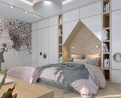 Детская комната с шкафами в форме домика с круглыми окнами на фасадах D-015