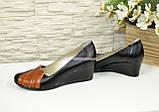 """Кожаные женские туфли с вставками из рыжей кожи на танкетке. ТМ """"Maestro"""", фото 3"""