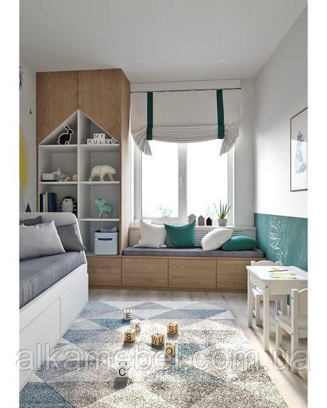 Детская комната с шкафом и комодом под окном D-017